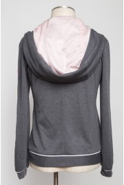 Sleepover Hooded Cardigan in mascara grey