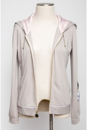 Sleepover Hooded Cardigan in earl grey creme