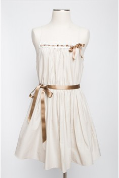 Meringue Babydoll Dress in earl grey creme