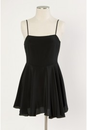 Odette Slip Dress in velvet black