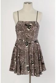 Odette Slip Dress in magpie print